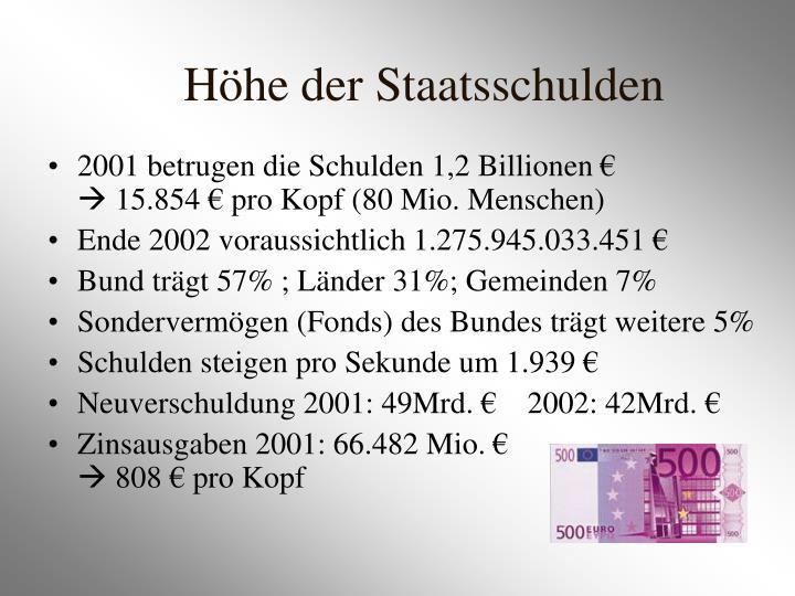 2001 betrugen die Schulden 1,2 Billionen €