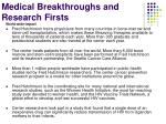 medical breakthroughs and research firsts1