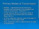 primary modes of transmission