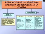 regulacion de la secrecion gastrica en respuesta a la comida