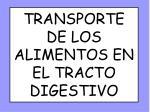 transporte de los alimentos en el tracto digestivo
