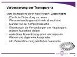 verbesserung der transparenz