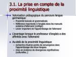 3 1 la prise en compte de la proximit linguistique