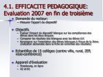 4 1 efficacite pedagogique evaluation 2007 en fin de troisi me