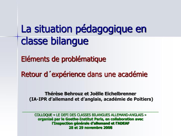 la situation p dagogique en classe bilangue n.