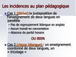 les incidences au plan p dagogique