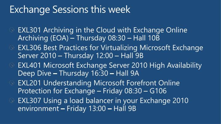 Exchange Sessions this week