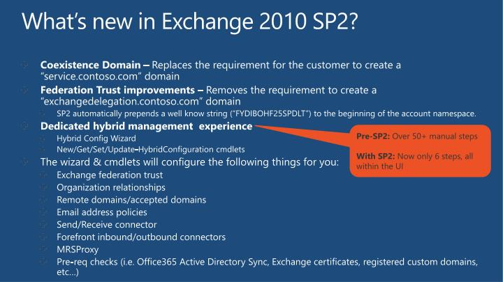 What's new in Exchange 2010 SP2?