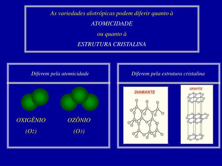 As variedades alotrópicas podem diferir quanto à