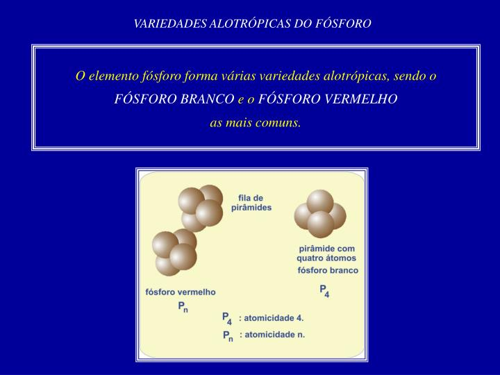 VARIEDADES ALOTRÓPICAS DO FÓSFORO