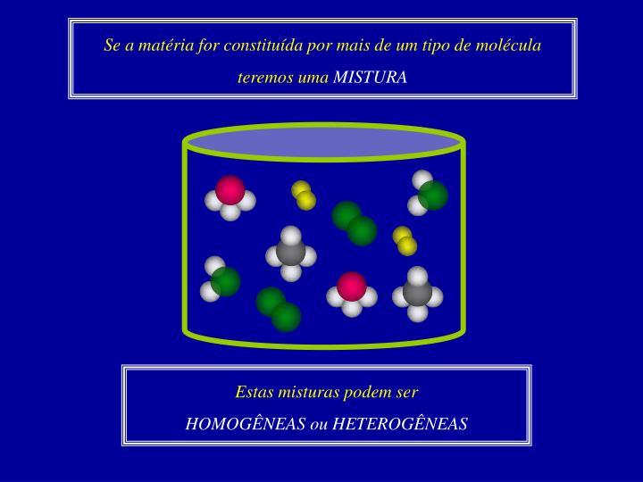 Se a matéria for constituída por mais de um tipo de molécula teremos uma