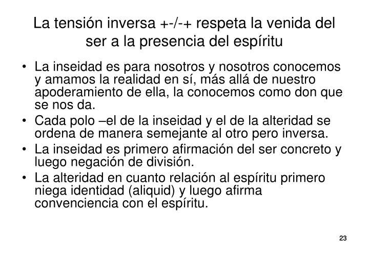 La tensión inversa +-/-+ respeta la venida del ser a la presencia del espíritu