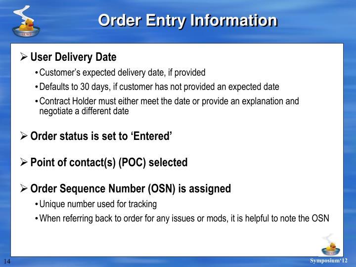 Order Entry Information