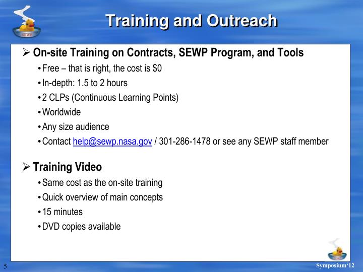 Training and Outreach
