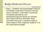budget reduction process