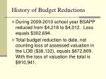 history of budget reductions1