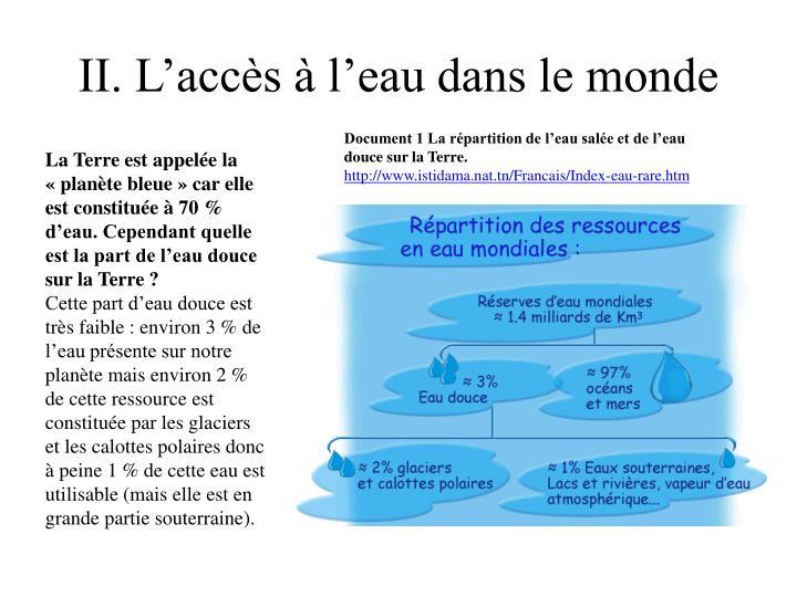 II. L'accès à l'eau dans le monde