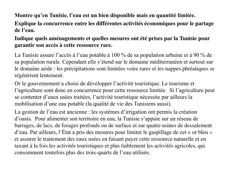 Montre qu'en Tunisie, l'eau est un bien disponible mais en quantité limitée.