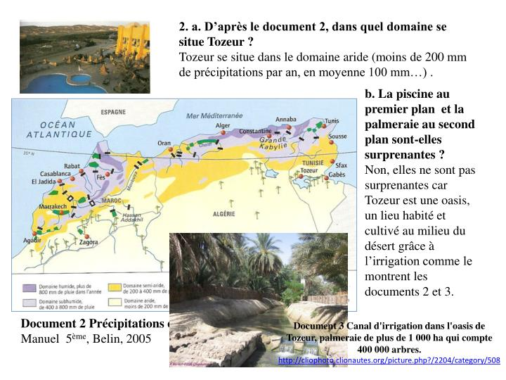 2. a. D'après le document 2, dans quel domaine se situe Tozeur ?