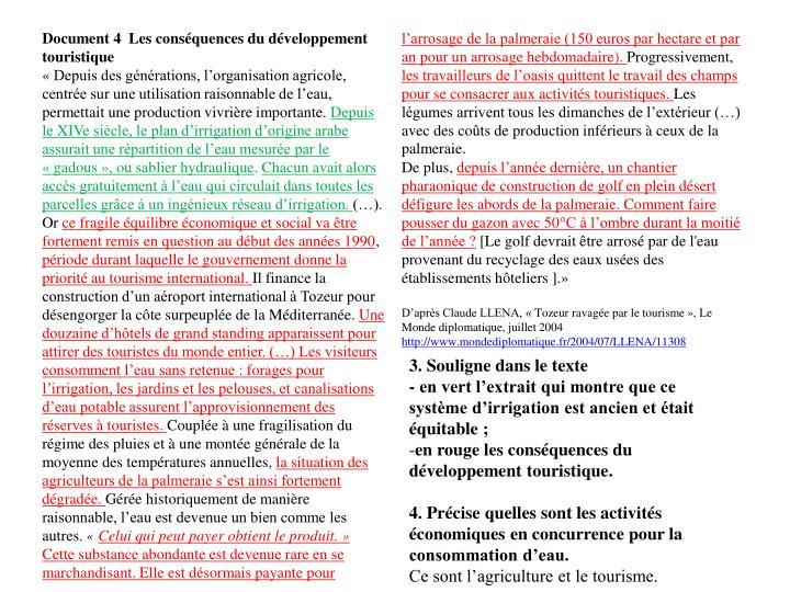 Document 4  Les conséquences du développement touristique