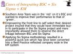 cases of integrating bsc six sigma km