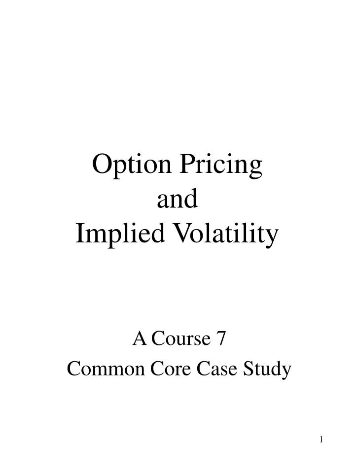 option pricing and implied volatility n.