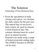the solution estimating from historical data