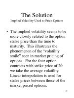 the solution implied volatility used to price options