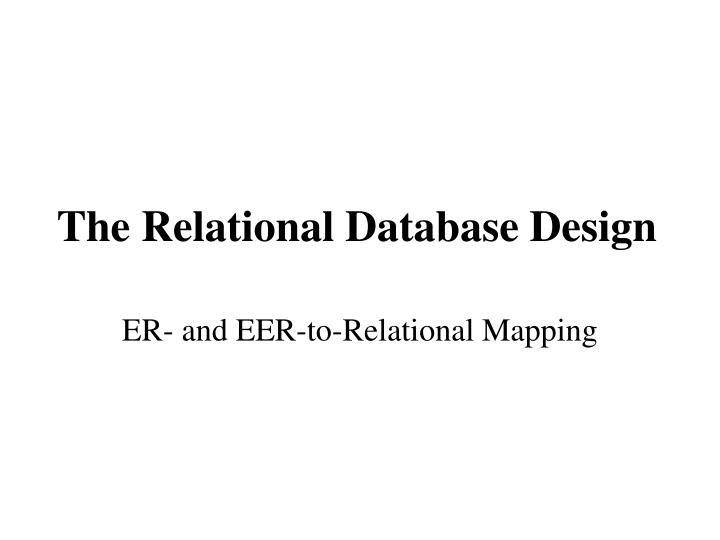 the relational database design n.