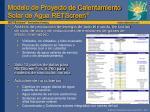 modelo de proyecto de calentamiento solar de agua retscreen