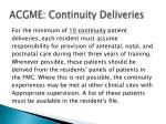 acgme continuity deliveries