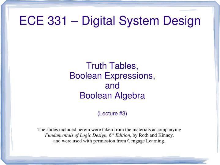 truth tables boolean expressions and boolean algebra lecture 3 n.