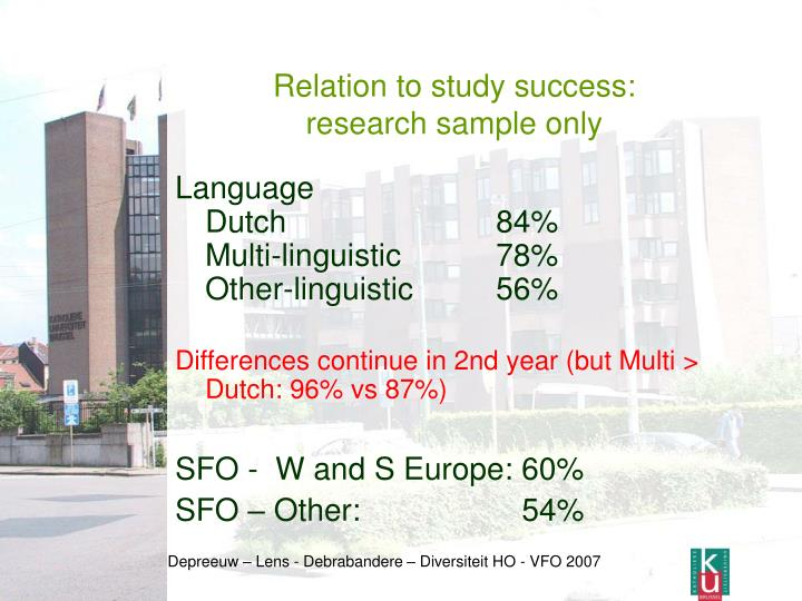 Relation to study success:
