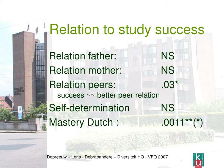 Relation to study success