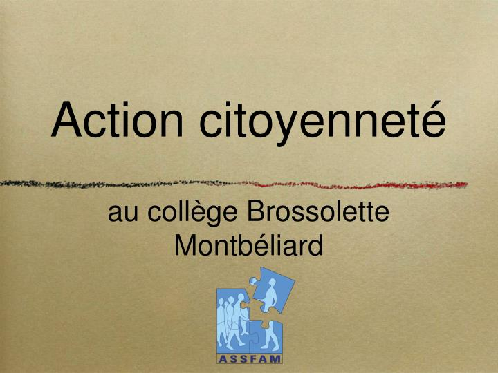 action citoyennet au coll ge brossolette montb liard n.