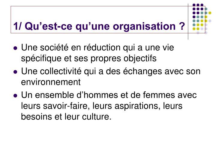 1/ Qu'est-ce qu'une organisation ?