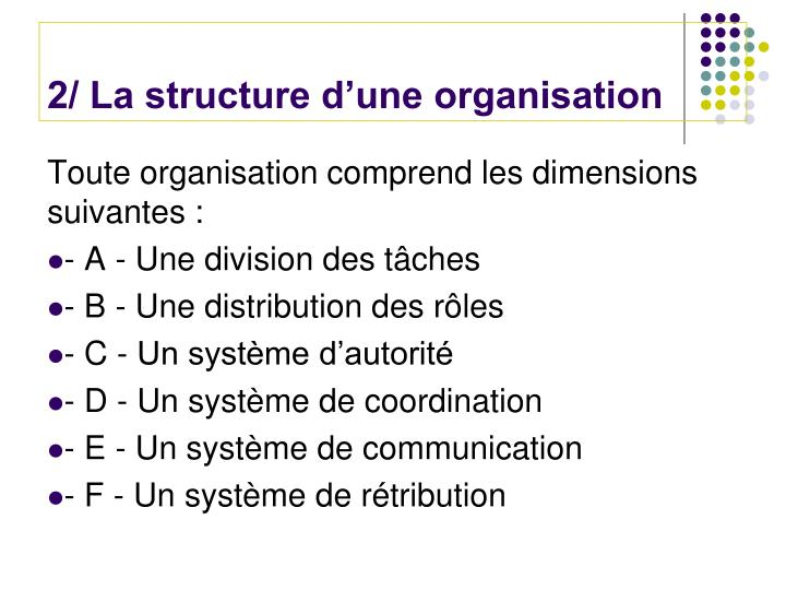 2/ La structure d'une organisation
