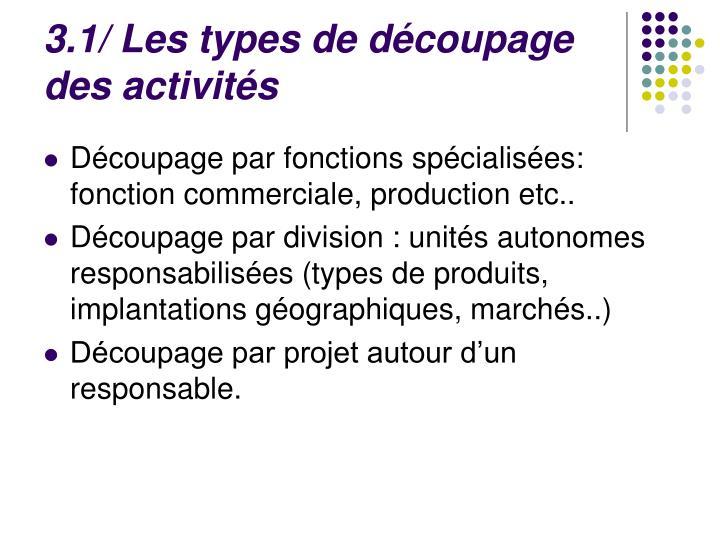 3.1/ Les types de découpage des activités