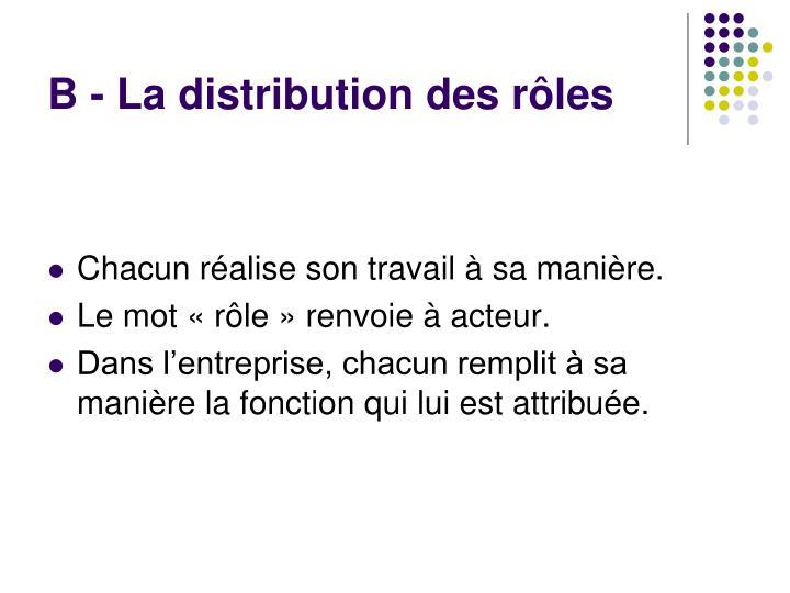 B - La distribution des rôles