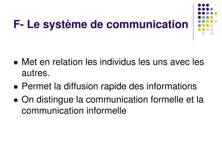 F- Le système de communication