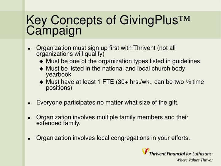 Key concepts of givingplus campaign