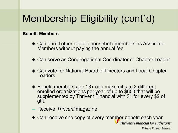Membership Eligibility (cont