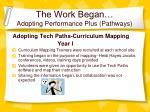 the work began adopting performance plus pathways