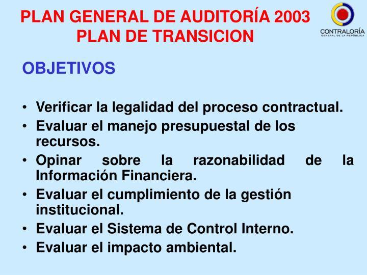 PLAN GENERAL DE AUDITORÍA 2003 PLAN DE TRANSICION