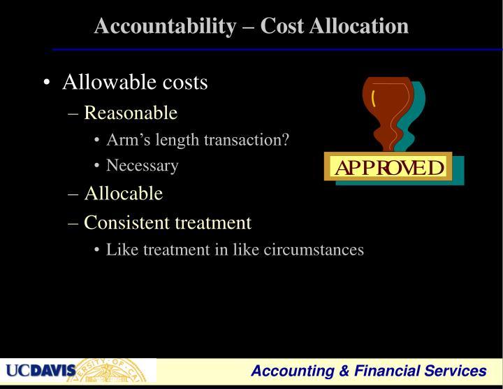 Accountability – Cost Allocation