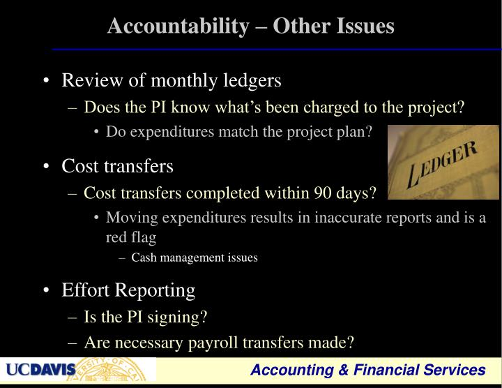 Accountability – Other Issues