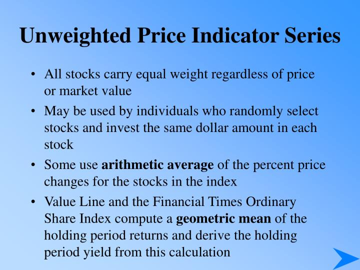 Unweighted Price Indicator Series