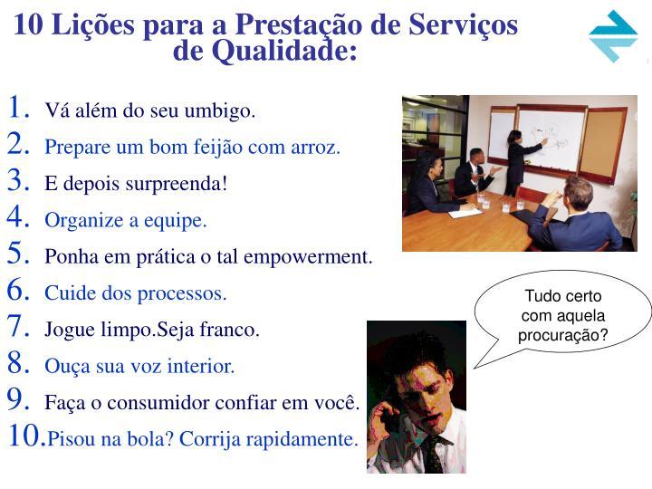 10 Lições para a Prestação de Serviços