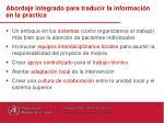 abordaje integrado para traducir la informaci n en la practica
