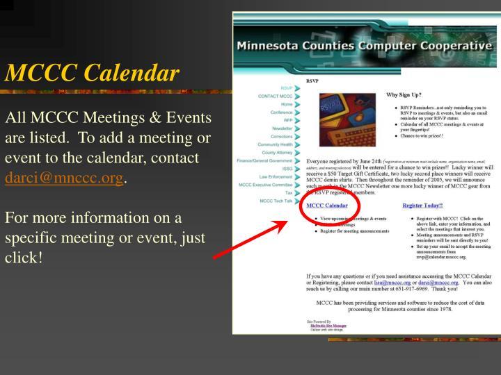 MCCC Calendar